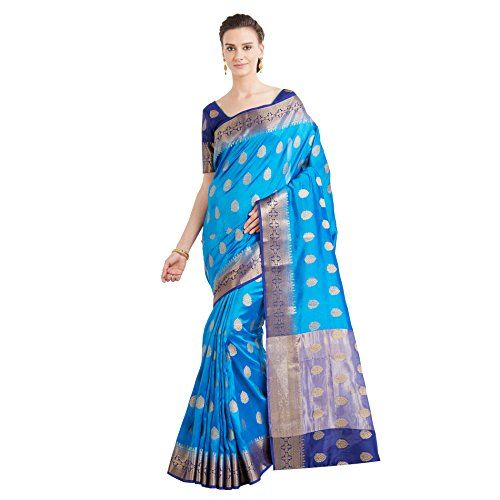 Viva N Diva Sarees For Women's Banarasi Latest Design Party Wear Blue Colour Banarasi Art Silk Saree With Un-Stiched Blouse Piece,Free Size - The Designer Saree from the house of Viva And Diva is designed as per the latest trends giving the best experience to the Indian Women. LENGTH - Length of Saree: 5.5 Meters - Length of Blouse: 0.8 Meters - Width of Saree: 1.1 Meters OCCASSION: Party Wear, Wedding, Evening, Ceremony WASH CARE INST...