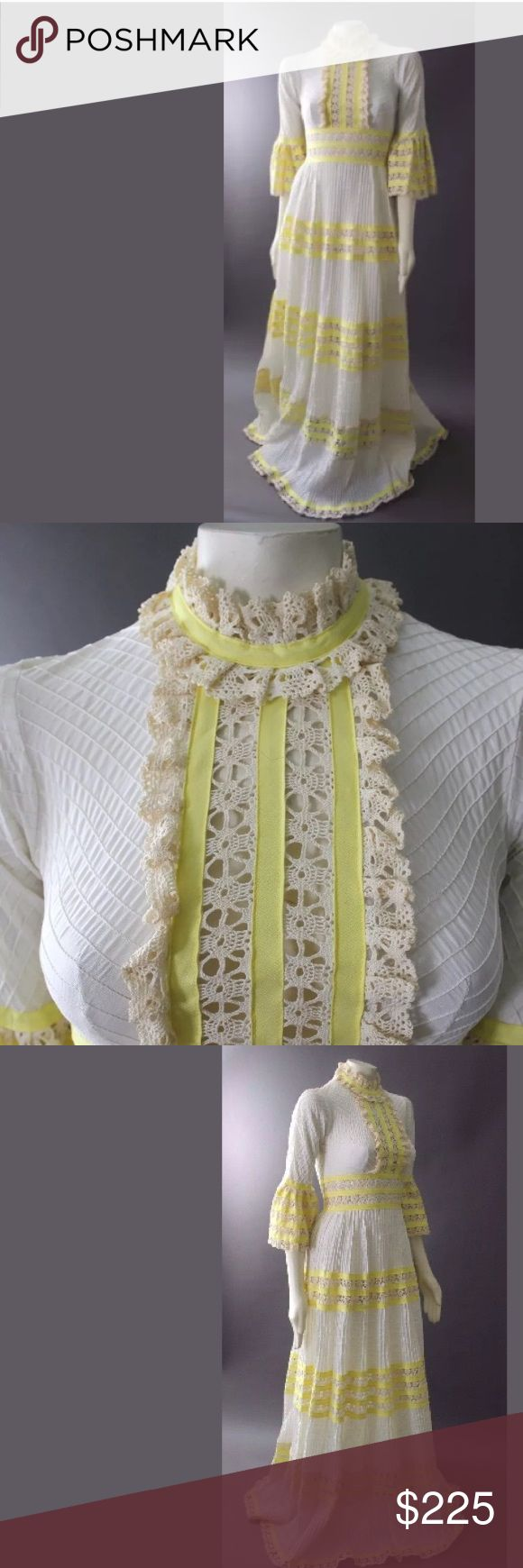 Vintage 70s Hippie Boho Wedding FESTIVAL DRESS XS From Rosa Mexicano. Absolutely stunning vintage dress. Ivory pin tucked cotton with hand crocheted lace and yellow ribbon trim. Angel sleeves. Back center zipper. Very good condition. 100% cotton. Measurements to come!❤️ Rosa Mexicano Dresses Maxi