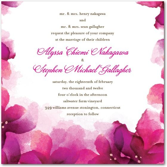 This stunning wedding invitation has bright fuchsia and magenta watercolor flowers, making it a true work of art.