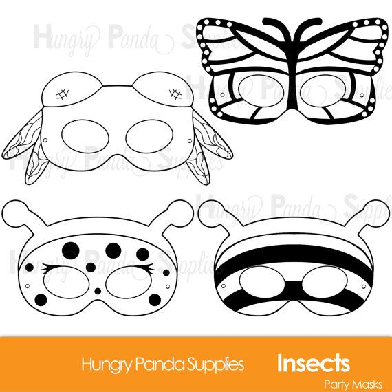 Insects Printable Coloring Masks, insect masks, ladybug mask, bee mask, dragonfly, butterfly, bumblebee, butterfly mask