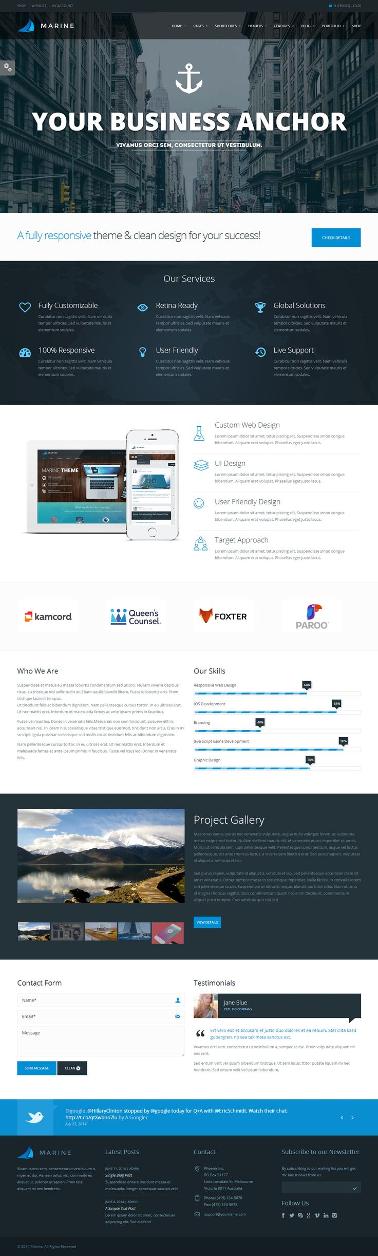 Marine is Premium full Responsive WordPress Multipurpose theme. WooCommerce. Parallax Scrolling. Retina Ready. Google Map. http://www.responsivemiracle.com/cms/marine-premium-responsive-multipurpose-worpress-theme/