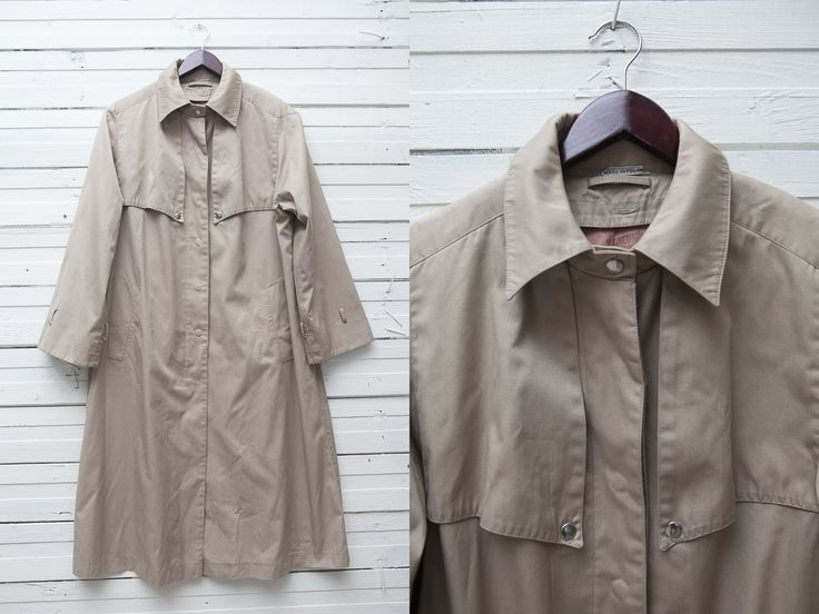 Classic Rain Coat / Long Trench Coat / Classy Trenchcoat / Vintage Beige Long Clip Up Trench Coat / 1980s Women's Trench Coat / Size L Large by CoverVintage on Etsy