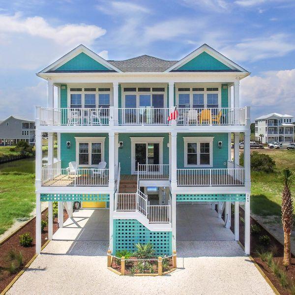 Vacation House In Ocean Isle Beach Beach House Plans Beach House Exterior Beach House Floor Plans