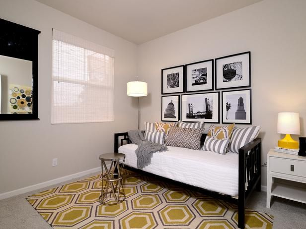 Yellow and brown bedroom with modern lighting : Designers' Portfolio : HGTV - Home & Garden Television#/id-1591/room-bedrooms/style-contempo...