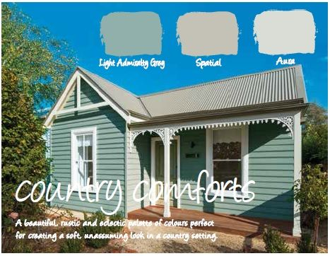 Haymes Paint Exterior Colour Scheme: Haymes Light Admiralty Grey is the weatherboards, Haymes Spatial is the Roof and Haymes Aura is the Trim Colour