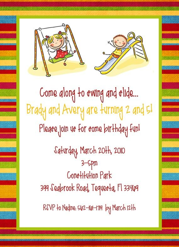 Playground Park Party Invitation Printable Design Custom Wording JPEG File