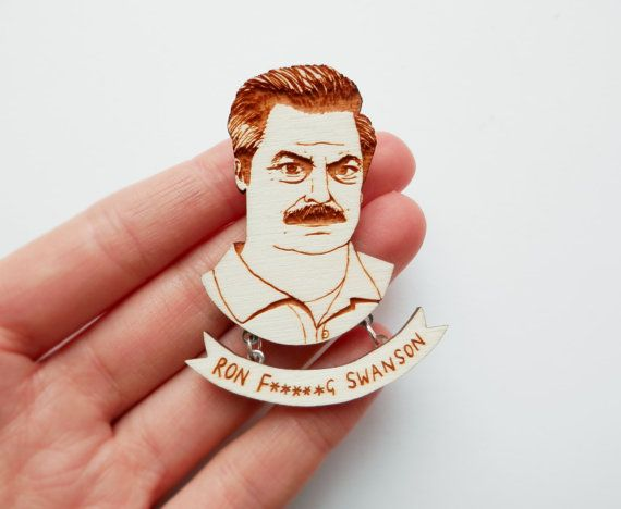 Parks & Recreation Brooch 'Ron Swanson' by kateslittlestore