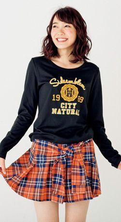 チェック柄の腰結びキュロットとスポーティなシャツスタイルでチアっぽい♪ ☆ティーンズのスタイル・ファッション コーデ集☆
