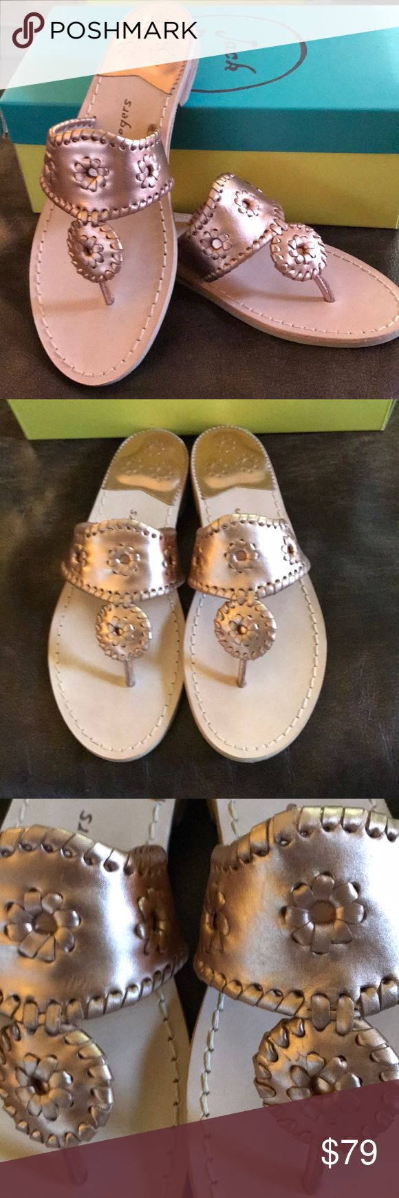 New! Jack Rogers Palm Beach Rose Gold 8m New in box....Jack Rogers Palm Beach Flat Sandals are perfect in every way! Who doesn't adore rose gold? 8m Jack Rogers Shoes Sandals