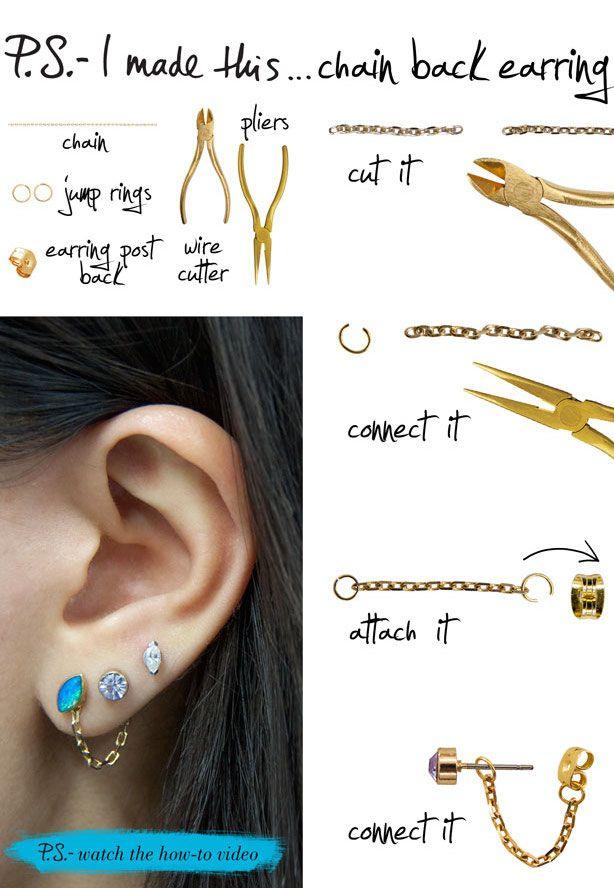 hmm easy and cute - DIY Chain back earrings.