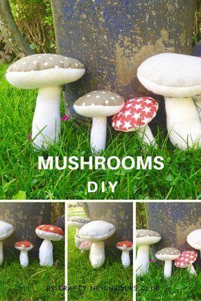 Wie du Stoff - Pilze aus Baumwolle und Filz nähst, erklären wir dir in unserem Blog. Diese hübschen Stoffpilze sind eine zauberhafte Herbstdeko und schnell genäht. Unsere kostenlose Nähanleitung, als freebie auf dem Blog. Besuche uns im www.craftyneighboursclub.com #mushroom #stoffpilz #nähanleitung