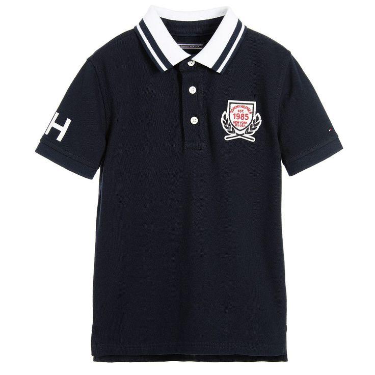 Tommy Hilfiger Boys Navy Blue Polo Shirt with Logo Badge at Childrensalon.com