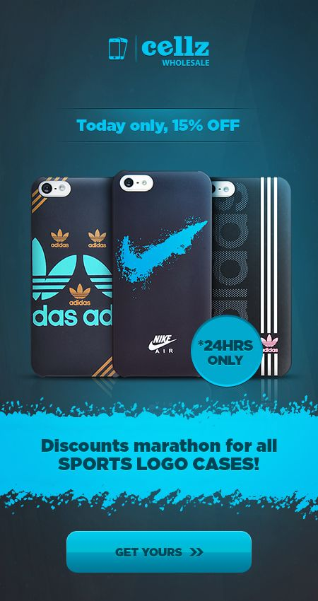 15% OFF Discount on all Sport Logo Cases for Smartphones! 24H Promotion - Join the discount marathon TODAY #discount #marathon #sport #logo #cases #smartphones