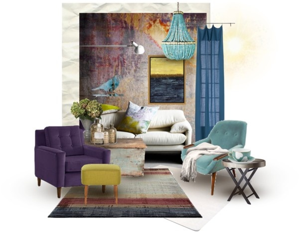 17 best images about living room on pinterest eclectic for Blue green purple room