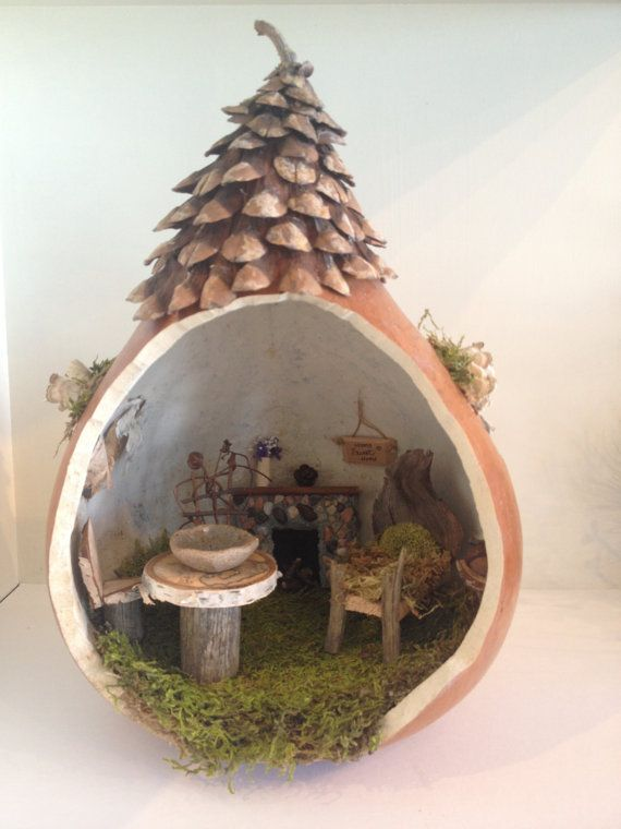 Handmade fairy gourd cottage by BlackSquirrelStudios on Etsy, $120.00                                                                                                                                                                                 More