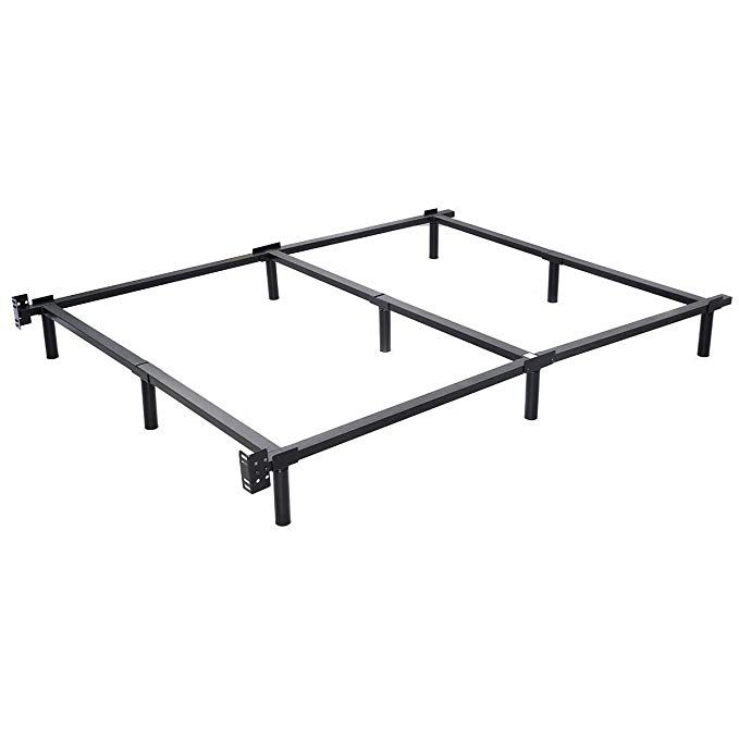 Giantex Black Folding Heavy Duty Metal Bed Frame Center Support