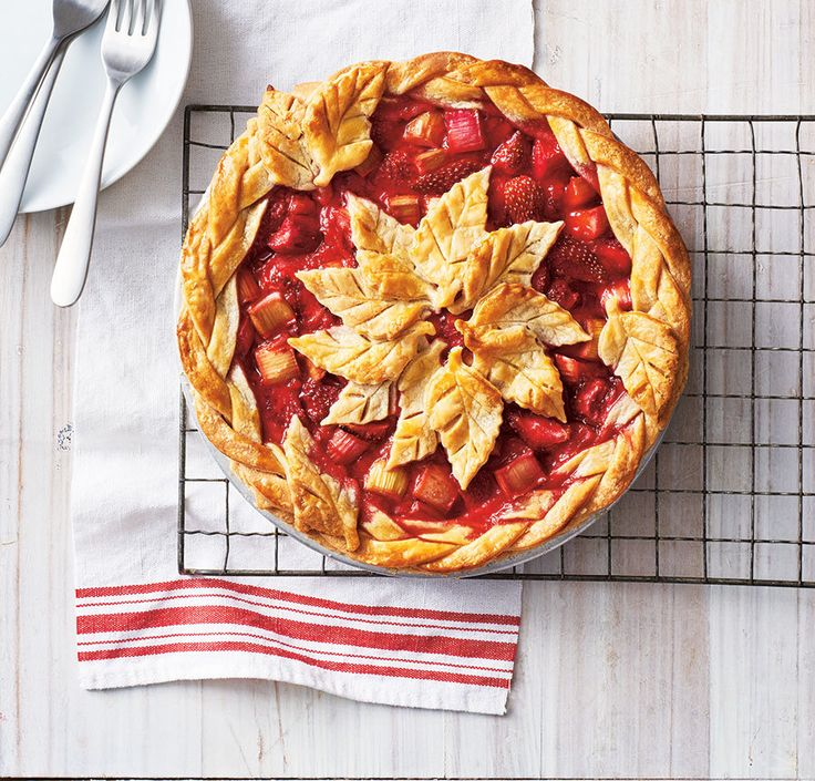 Our ultimate strawberry rhubarb pie features a braided crust and leaf-shaped cutouts for an extra-special presentation. This is a must-try dessert for Canada Day! Photo by Jodi Pudge.