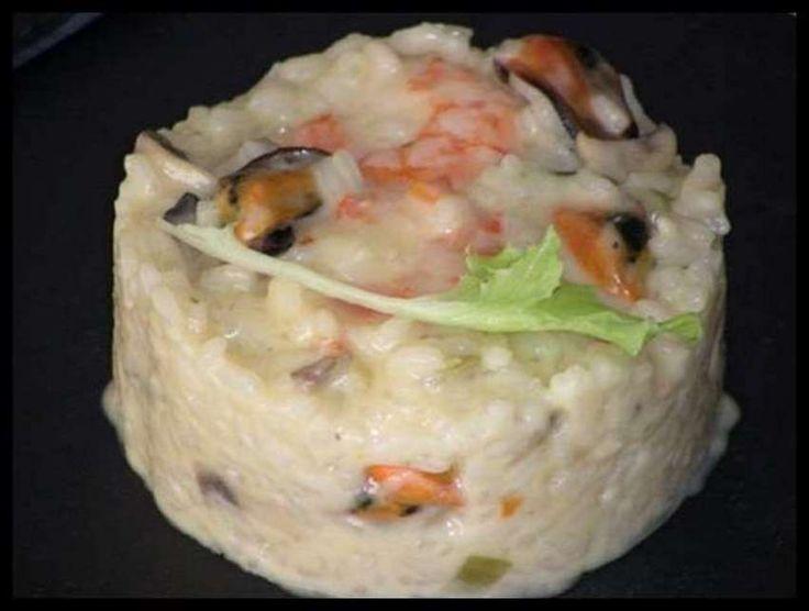 Risotto de hongos y marisco, receta casera
