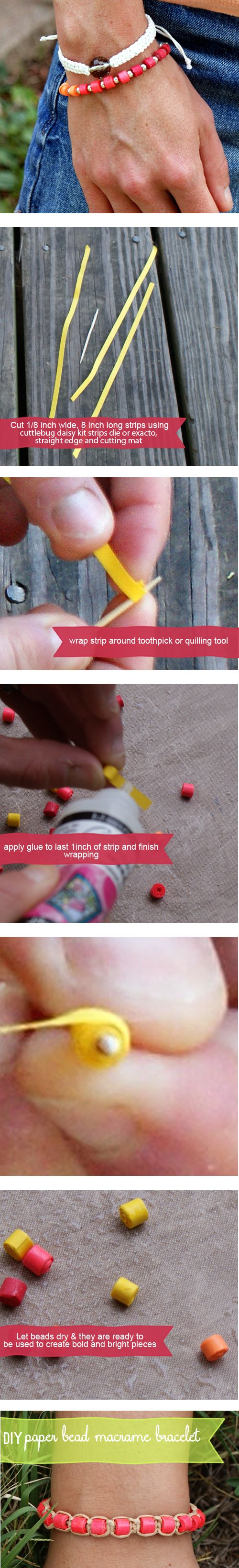 How to Make Paper Beads & Macrame Bracelet with #goastrobrights at savedbylovecreations.com