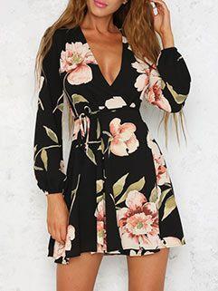 Sexy Deep V Neck Floral Dresses Minišaty 858132f5e8f