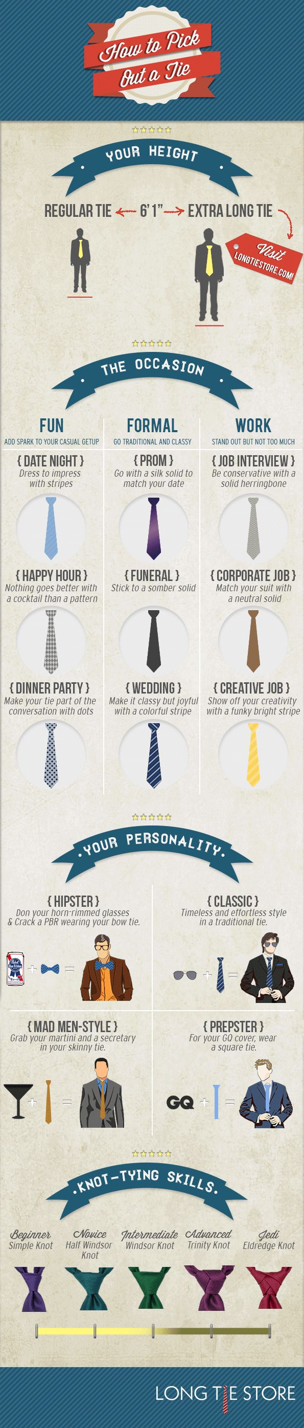 Know the Right Tie for Any Event with This Infographic. Just saying, I'm at Jedi level, according to this ;)