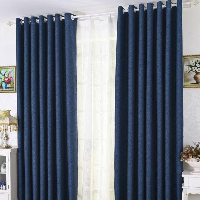 Modern Linen Cotton Blue Blackout
