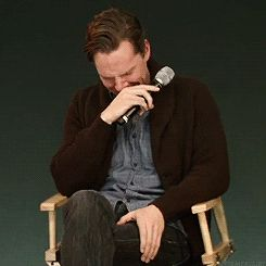 """""""'Oh Benedict, pull yourself together!' {Apple Q&A - Moffat sends Benedict actual 6 year old into a giggle fit (gifset)}"""""""