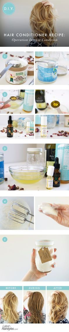 I consider this DIY hair conditioner a moisture bomb, of sorts, as it's loaded with hair-loving oils and butter. To give it an extra personal twist, I even added a little bit of rose oil. Here's the 100% original recipe and how-to: