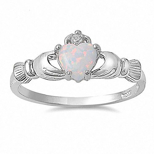 Fidelity: 0.765ct Heart cut Fiery White Opal Claddagh Ring Silver - Trustmark Jewelers - Promise Rings - 1