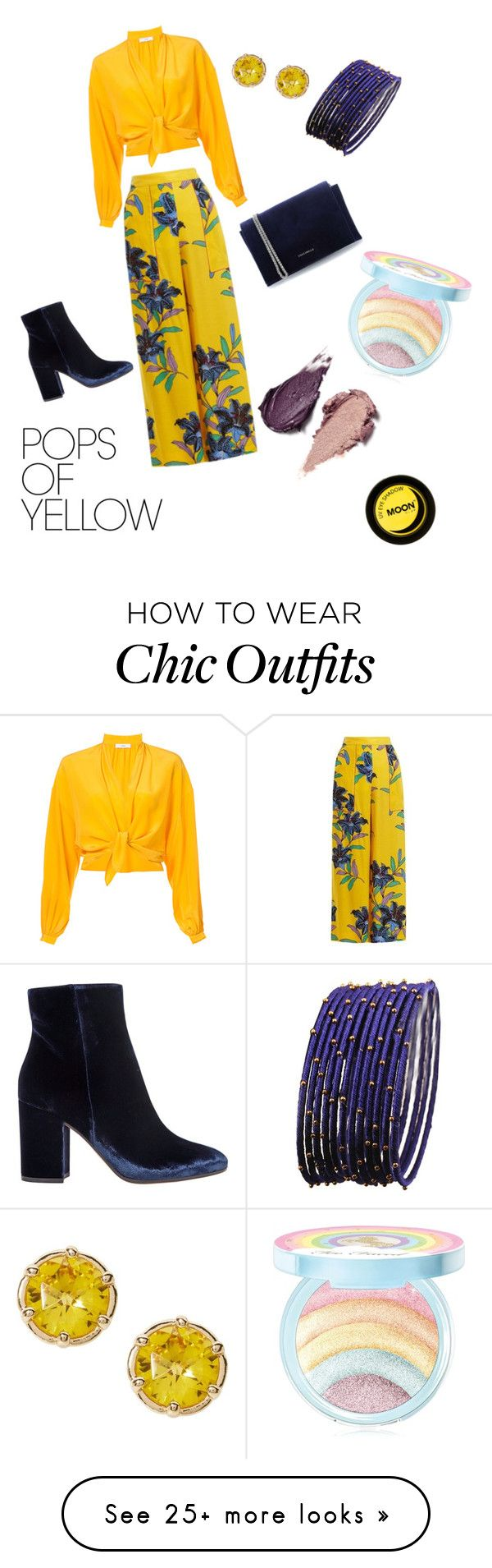 """""""baha chic"""" by mylestanzer on Polyvore featuring Tome, Diane Von Furstenberg, Gianvito Rossi, Coccinelle, Too Faced Cosmetics, Rituel de Fille, PopsOfYellow and NYFWYellow"""