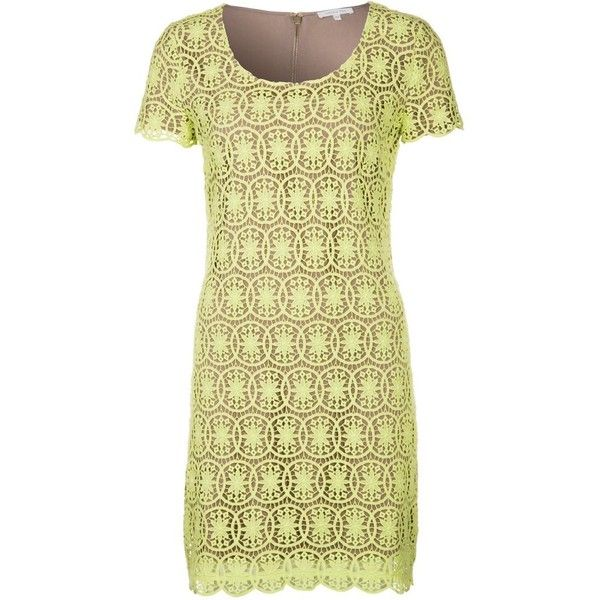 Patrizia Pepe Summer dress ($230) ❤ liked on Polyvore featuring dresses, yellow, yellow floral dress, mid length dresses, summer print dresses, beige summer dress and beige dress