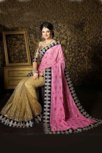 #Pink #Golden Crap Saree With Blouse