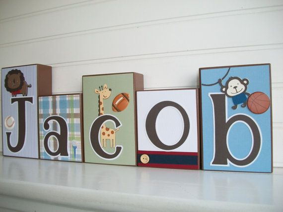 Baby Name Blocks . Jr Varsity Bedding. Team Safari Bedding.  by RessieLillian.Etsy.com