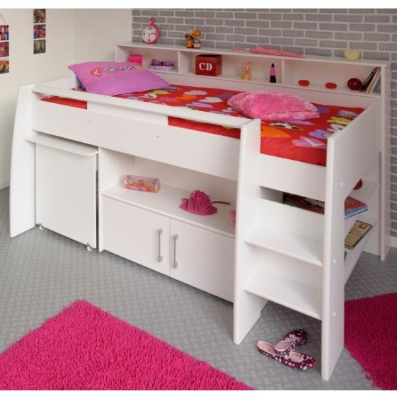Parisot Swan Mid Sleeper is a beautiful, versatile bed with a pull-out desk integrated into the design along with numerous options for additional storage for little ones extra things. Finished in a high quality white veneer for a child friendly wipe-clean finish.