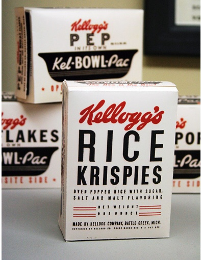Vintage Kellogg's Rice Krispies cereal boxes.