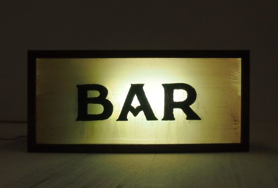 """New Hand Lettering """"BAR"""" Vintage Lightbox Sign / Illuminated Sign / Wall / Table Lamp  / Industrial / Rustic Painted on Recycled Plastic"""