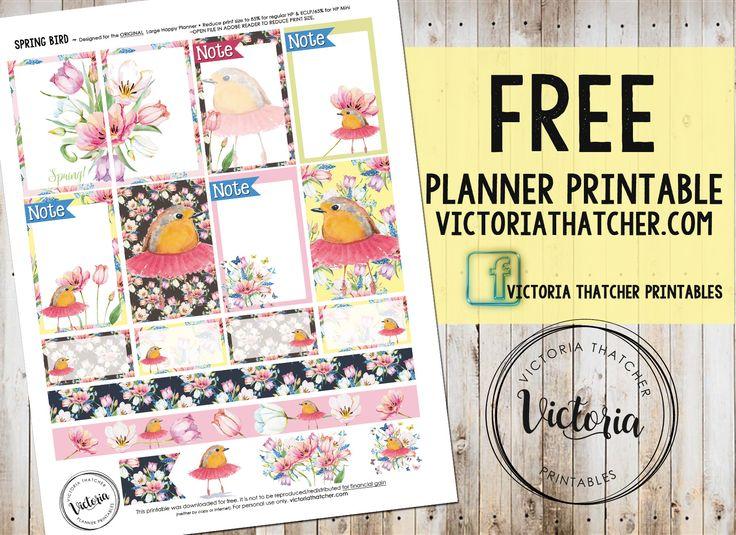 Free Spring Bird Planner Stickers from Victoria Thatcher