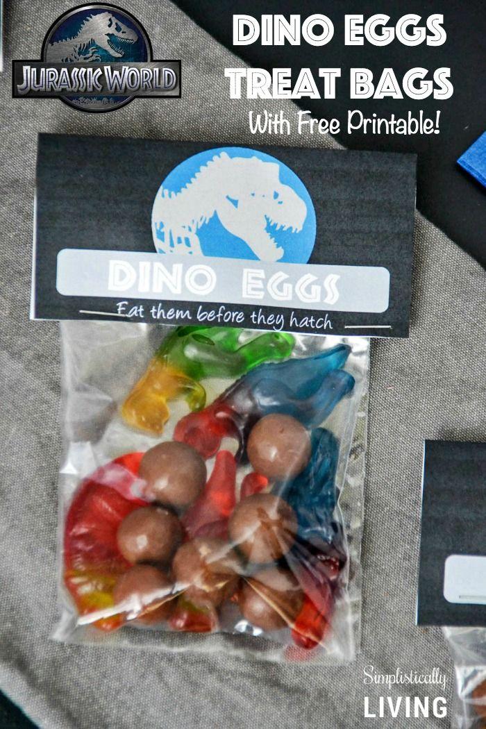 Jurassic World Dino Eggs Treat Bags + Free Printable! Simplistically Living