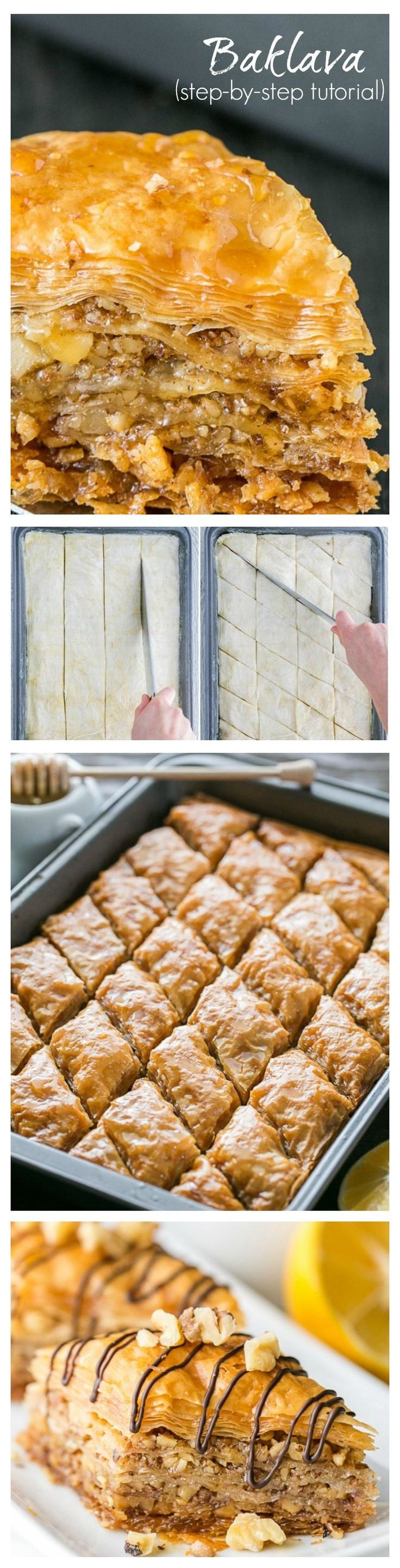 This honey baklava is flaky, crisp and tender and isn't overly sweet. You will love the hint of mellow lemony flavor which offsets the sweetness and compliments the cinnamon. It's truly delicious. This recipe can be made several days in advance of your shindig and keeps beautifully at room temperature for at least a week.
