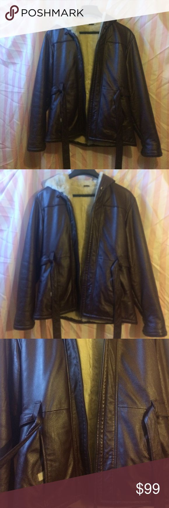 Women's leather coat Brown leather with soft fur inside fits women's m and l Jackets & Coats