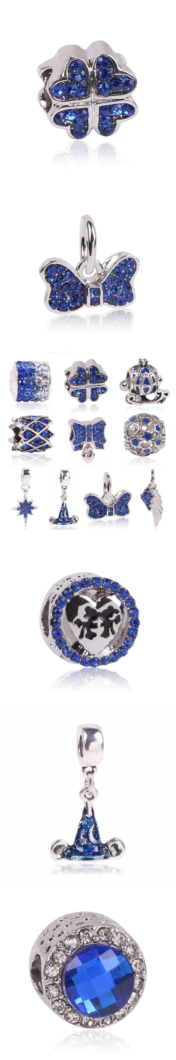 2017 Hot Sale Plated Silver Blue Enamel Charm Bead Fit Original Pandora Beads Bracelet Necklace Authentic Fashion Jewelry