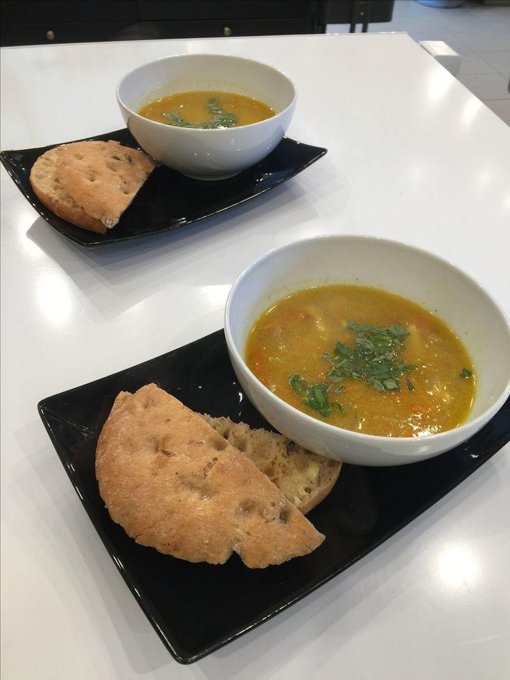 Kyllingsuppe med flaguette