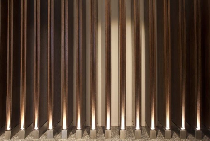 Paul Nulty Lighting Design - Private Airline Lounges - Light Joinery Detail Reception Backdrop