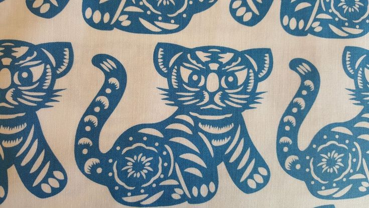 Blue & White Asian Cat Fabric-100% QSQ Cotton Michael Miller-OOP, Sold BTY #MichaelMillerFabrics