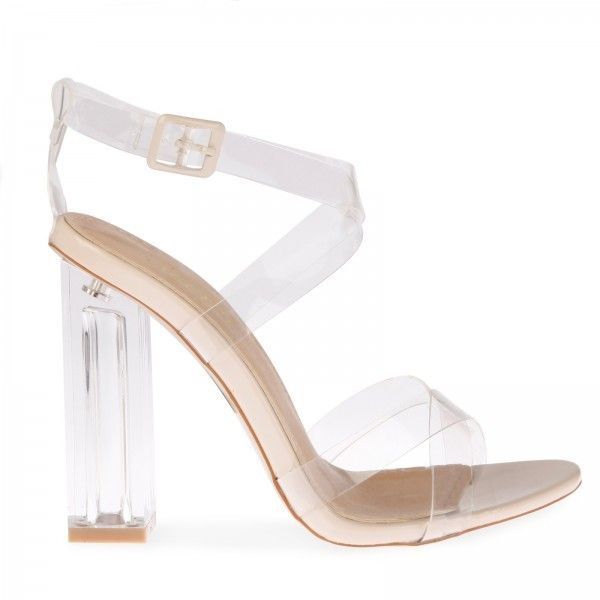 Daphne Strappy Sandal With Squared Heel In Clear Perspex ($51) ❤ liked on Polyvore featuring shoes, sandals, block heel sandals, perspex shoes, strappy sandals, square heel sandals and clear acrylic shoes