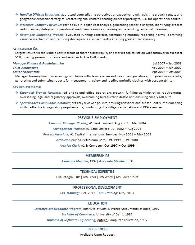 Cfo Resume Example P  Career    Executive Resume