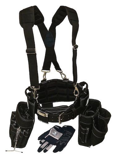 Most Comfortable Tool Belts: 2. Gatorback Electricians Combo Deluxe Package (Tool Belt, Suspenders, Gloves, Bucket Tote) Ventilated Back Support Belt w/ Suspenders and Extras. For Electricians, Carpenters, Framer