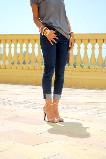 cuffed jeans & cute heels.