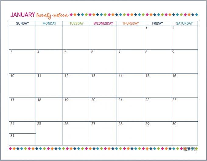 Free Printable 2016 Calendar   JustAGirlAndHerBlog.com