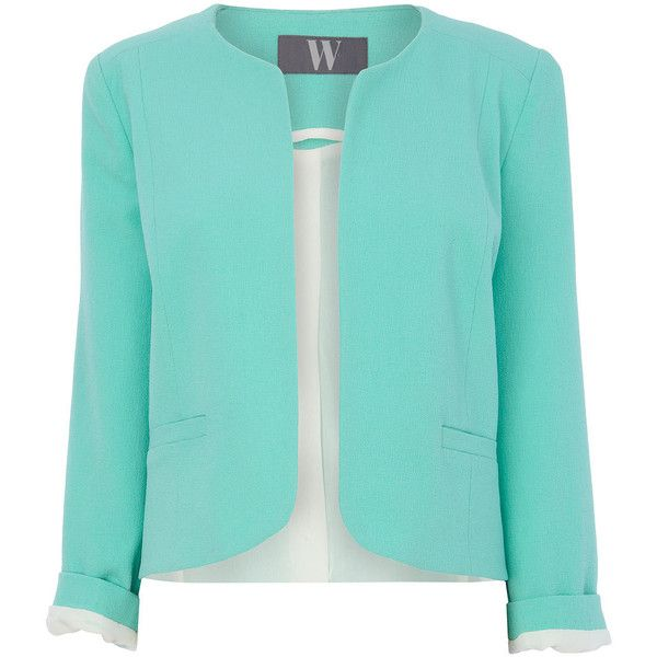 Mint Crinkle Crepe Jacket ($47) ❤ liked on Polyvore featuring outerwear, jackets, blazer, coats, blue blazer, mint green jacket, mint green blazer, crepe jacket and crepe blazer